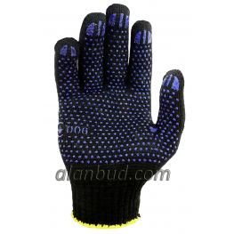 Knitted work gloves with PVC dot BK10-17T